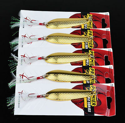 5pcs/lot Fishing Lures Metal 4# Feather Hooks Spoon Hard Baits Bass Tackle 16g