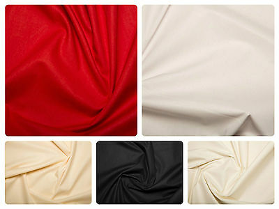 """WIDE Cotton Sheeting Fabric 100% Cotton Material - 94"""" (239cm) wide - 5 colours"""