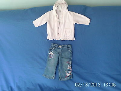 Baby Girls 3-6 months - Pink Velour Hoodie & Embroidered Jeans Outfit - Next