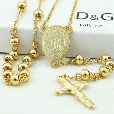 "DG Stainless Steel,Gold 26"" Beaded Rosary VIRGIN MARY JESUS CROSS Necklace + BOX"