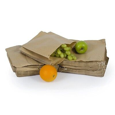 "100x Biodegradable Brown Kraft Paper  Food Bags Market Stalls Shops - 10"" x 10''"