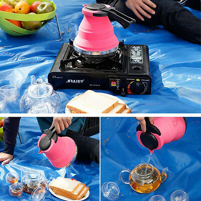 Collapsible Kettle Camping Fishing Folding Pop-Up Gas Stove Hob Water Pot 1.5L