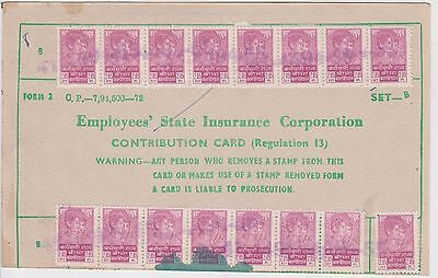 (LY-10) 1974 India union work card &22stamps (G)