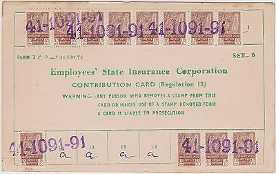 (LY-6) 1974 India insurance card &22 stamps (C)