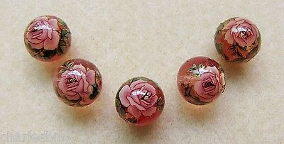 5 Japanese Tensha Beads PINK ROSE on PINK CLEAR ROUND Beads 12mm
