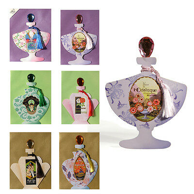 36 Art Deco Perfume Bottle Greeting Cards with Gemstone Stoppers & Silky Tassel