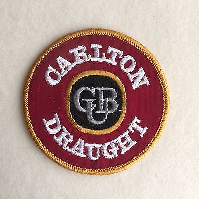 Vintage 'CARLTON DRAUGHT' Beer CUB Woven BADGE Cloth EMBROIDERED Sew ON Patch