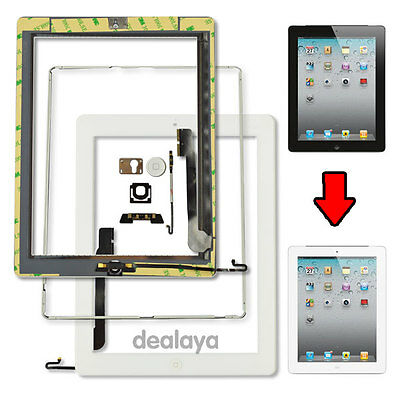 White Replacement Screen Touch Digitizer For Ipad 4 Frame Bezel&home Button Flex