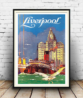 Liverpool ,Vintage Travel advertising Reproduction poster, Wall art.