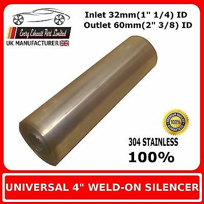 """4"""" x 12"""" Weld On Stainless Steel Silencer Exhaust Box Body, 32mm In - 60mm Out"""