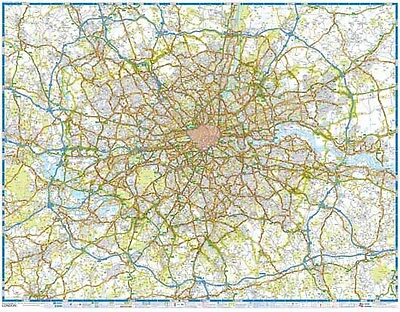 M25 Main Road Map of London by A-Z Map (GLOSS ENCAPSULATED WALL MAP)