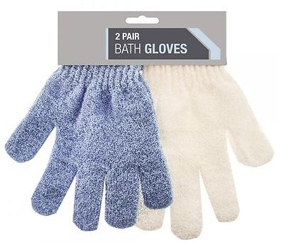 2 Pair Bath Gloves Assorted Colour Shower Bathroom Skin Body Wash Massage Scrub