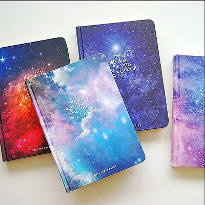 """Stars Come"" 1pc Journal Diary Hard Cover Lined Papers Study Notebook Notepad"