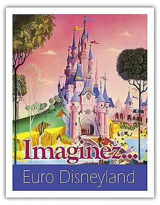 Euro Disneyland Paris France  Vintage World Travel Art Poster Print Giclee
