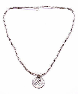 Wiccan Inspired Silver Metal Bead And Starry Disc Token Necklace W Clasp (Zx42)