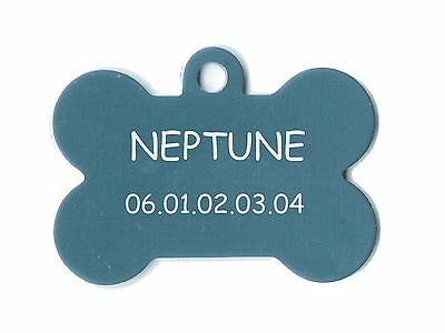 medaille gravee chien ou chat - modele grand os neptune - bleue alu