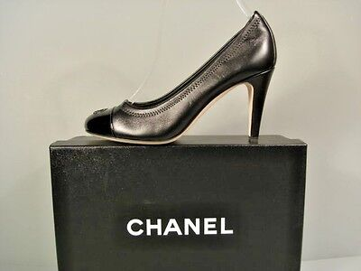 c9bb2cc7f391 Chanel Classic Gathered Black Lambskin Patent Round Toe Pumps Heels Cc 36.5  New