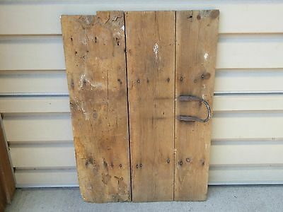 EARLY 19th C ADORABLE SMALL WOOD BARN DOOR w/ WROUGH IRON PULL HANDLE -WALL HANG