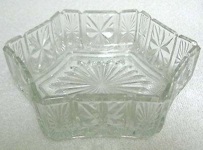 Vintage Avon Candy Dish Fostoria Glass Clear Six Sided Item#00342-1
