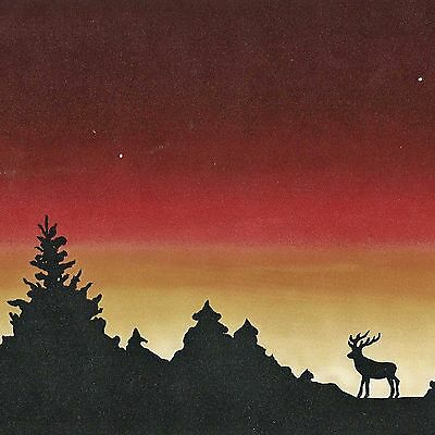 Dramatic Sunset Silhouette - Deer in Woods - ONLY $8 - Wallpaper Border B038