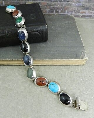 Heavy Mexico Sterling Silver Multi-Stone Earth Tones Link Bracelet
