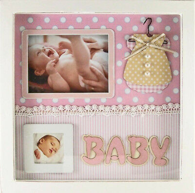 Scrapbook Style Embellished BABY GIRL Photo Picture Frame Shadow Box Keepsake