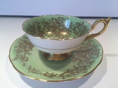 ANTIQUE COALPORT - Lime Green with Gold Gilt Orchids - CUP & SAUCER #10163/A