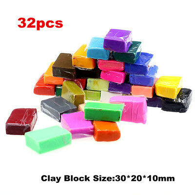 32PCS DIY Craft Malleable Fimo Polymer Modelling Soft Clay Block Plasticine Toys