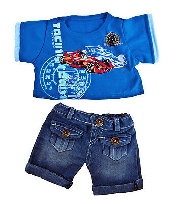 """Cool Racecar Outfit 16""""(40cm ) by Teddy Mountain will fit Build a Bear"""