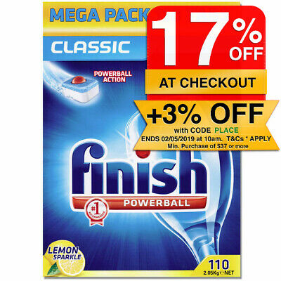 Finish Lemon Classic Pack 110 Tabs Tablets Powerball for Dishwashing Dishwasher