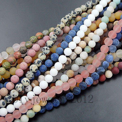 "Matte Frosted Natural Gemstone Round Loose Charm Beads 15"" 4mm 6mm 8mm 10mm 12mm"