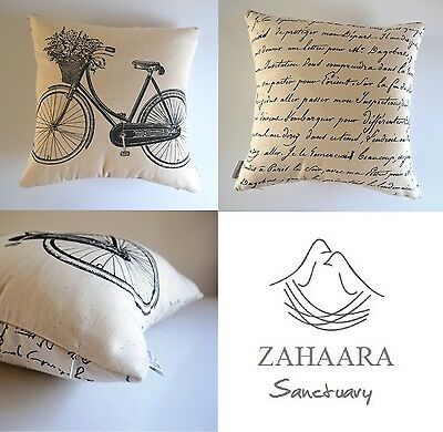 """""""Odessa"""" Black/Off White Vintage French Provincial Cushion Cover Script Bicycle"""