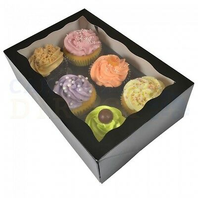 25 x 6 PREMIUM BLACK CUP CAKE BOXES AND DIVIDERS