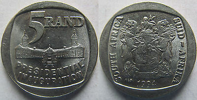 """South Africa 5 rand 1994 """"Presidential inauguration"""" UNC KM# 150"""