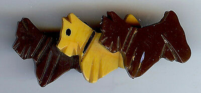 Vintage Carved Bakelite Three Brown And Butterscotch Scotty Dogs Pin Brooch