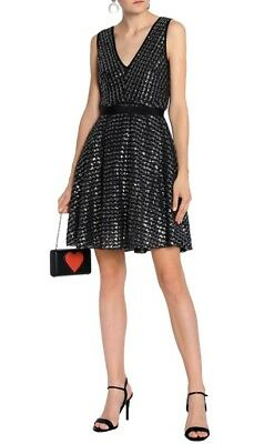 NWT Sandro Women's Black Flared Sequined Knitted Mini Dress, size 1 (USD525)