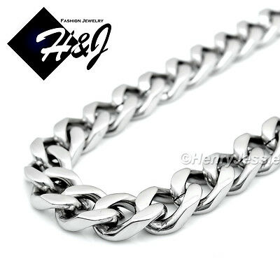 "18-40""MEN Stainless Steel HEAVY WIDE 9x4mm Silver Cuban Curb Link Chain Necklace"
