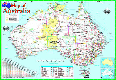A2 laminated AUSTRALIA MAP poster | australian geographic educational resource