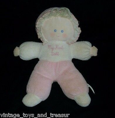 "11"" Vintage Bantam My First Doll Baby Girl Rattle Pink Stuffed Animal Plush Toy"