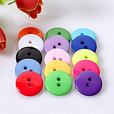 NT 100PCs Candy Color Round Resin Sewing 2 Holes Buttons Scrapbook Embellish