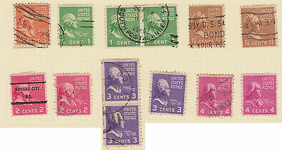 (USE36) 1934-53 USA 13mix ½c to 4c