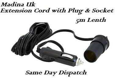 Cigarette Lighter Extension Cord with Plug and Socket 5m