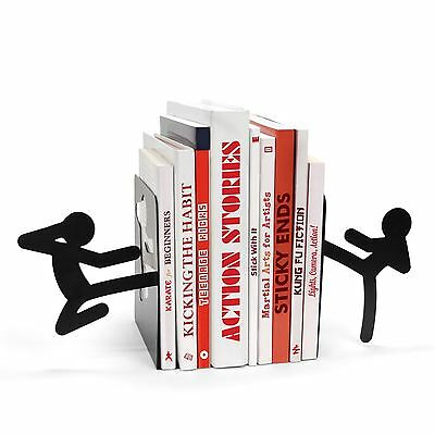 Stickmen Ninja Kung Fu Style Black Metal Bookend Pair