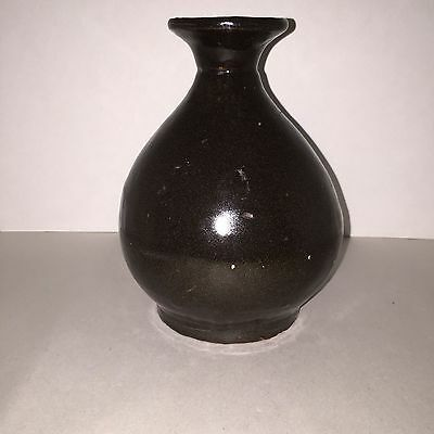 Antique Chinese Black/Brown Glazed Bottle Shaped Vase 19th or early 20th Century