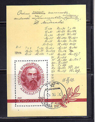 RUSIA-URSS/RUSSIA-USSR 1969 USED SC.3608 Mendelev,Periodic Law
