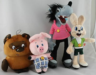 Lot 4 Toys Wolf Nu Pogodi Hare Winnie The Pooh Piglet Soviet Cartoon Soft Voiced