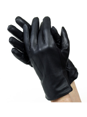 Isotoner A22817 Women's Lined Leather Gloves Black Size 7.5