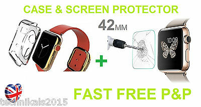42mm Apple Watch iWatch Silicone Case Cover and Tempered Glass Screen Protector