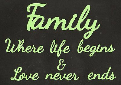 Scrapbooking Words - FAMILY Where life begins & Love never ends