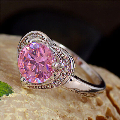 Wedding/bride silver pink heart cubic zirconia lady's ring size 7-9